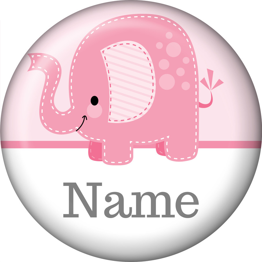 View larger image of Pink Elephant Personalized Mini Button (Each)