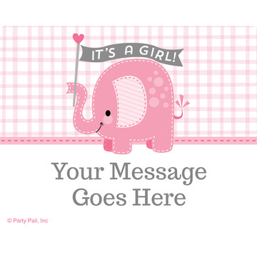 Pink Elephant Personalized Rectangular Stickers (Sheet of 15)