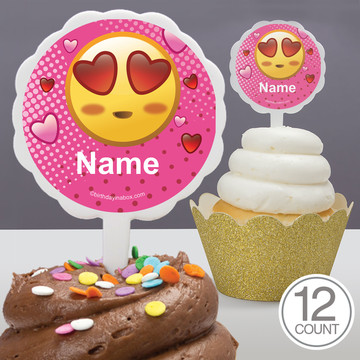 Pink Emoji Personalized Cupcake Picks (12 Count)