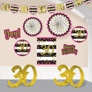 Pink & Gold 30th Birthday Room Decorating Kit (10 Pieces)