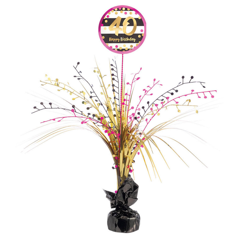 View larger image of Pink & Gold 40th Birthday Spray Centerpiece (1)