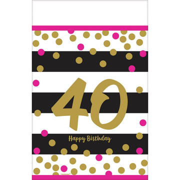Pink & Gold 40th Birthday Table Cover (1)