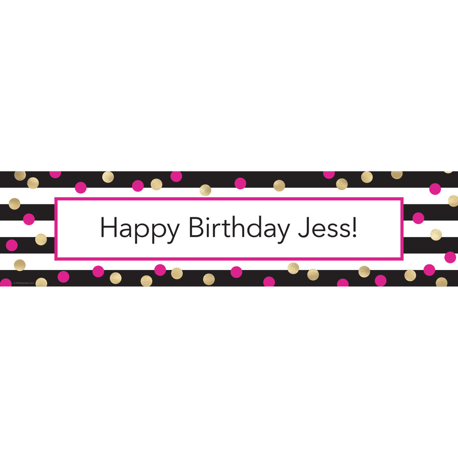 View larger image of Pink & Gold Personalized Banner (Each)