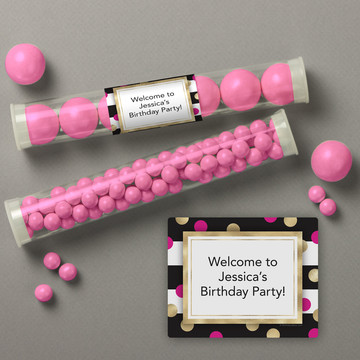 Pink & Gold Personalized Candy Tubes (12 Count)