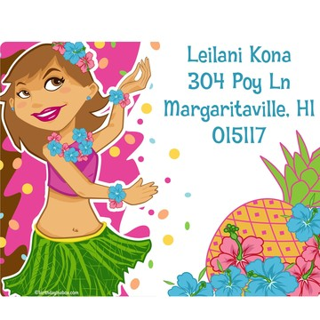 Pink Luau Fun Personalized Address Labels (Sheet of 15)