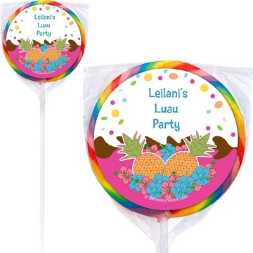 Pink Luau Fun Personalized Lollipops (12 Count)