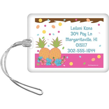 Pink Luau Fun Personalized Luggage Tag (Each)
