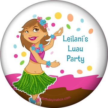 Pink Luau Fun Personalized Magnet (Each)