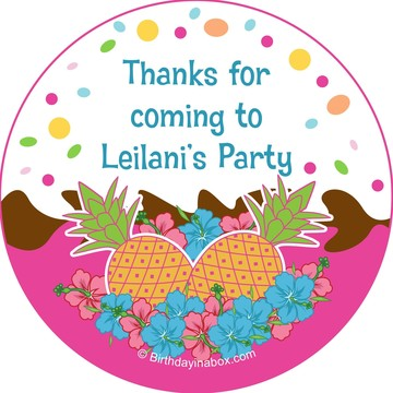 Pink Luau Fun Personalized Stickers (Sheet of 12)
