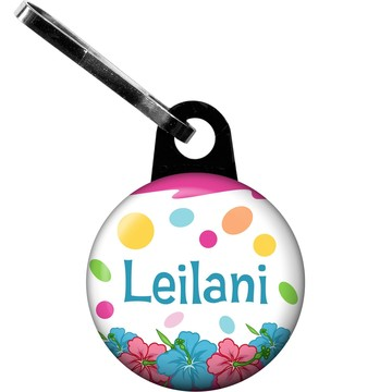 Pink Luau Fun Personalized Zipper Pull (Each)