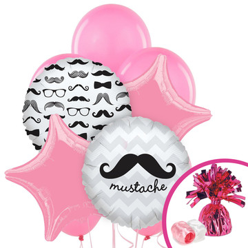 Pink Mustache Balloon Bouquet