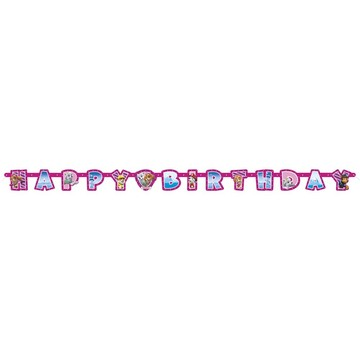Pink Paw Patrol Happy Birthday Banner