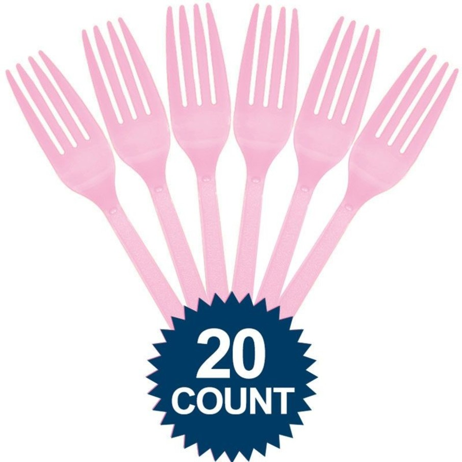 View larger image of Pink Plastic Forks 20 ct