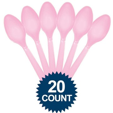 Pink Plastic Spoons 20 ct