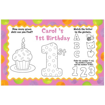 Pink Polka Dot 1st Birthday Party Personalized Activity Mats (8-Pack)