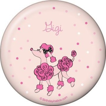 Pink Poodle Personalized Button (each)