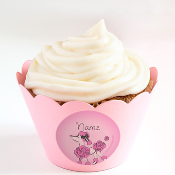 Pink Poodle Personalized Cupcake Wrappers (Set of 24)