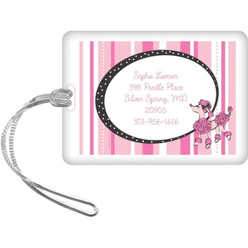 Pink Poodle Personalized Luggage Tag (each)