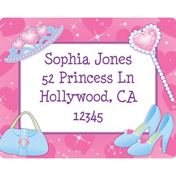 Pink Princess Party Personalized Address Label