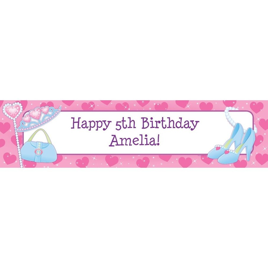 View larger image of Pink Princess Party Personalized Banner (each)