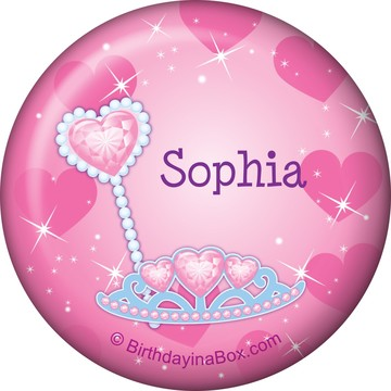 Pink Princess Party Personalized Button (each)