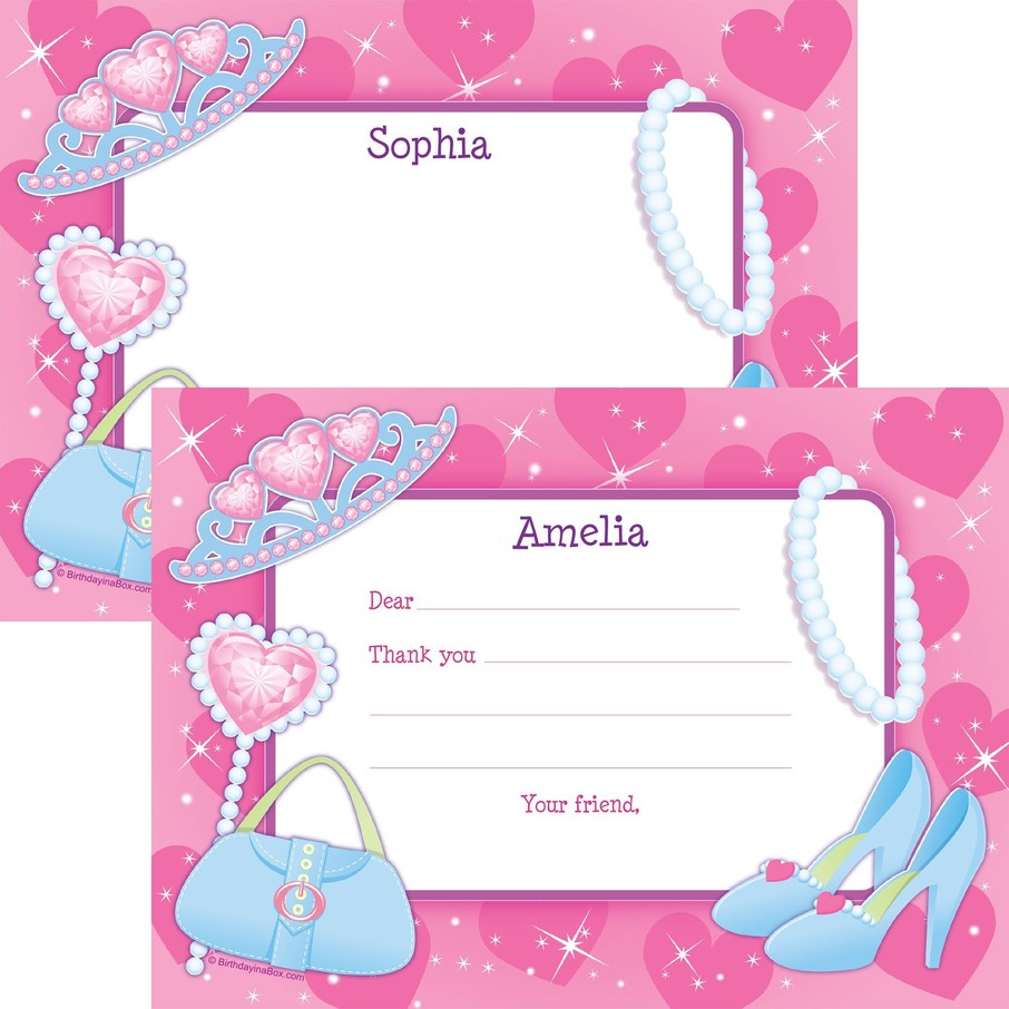 View larger image of Pink Princess Party Personalized Thank You Note