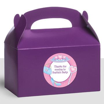 Pink Princess Party Personalized Treat Favor Boxes (12 Count)