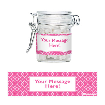 Pink Quatrefoil Personalized Swing Top Apothecary Jars (12 ct)