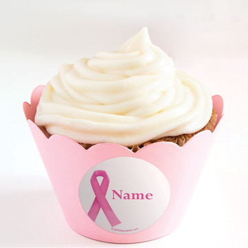Pink Ribbon Personalized Cupcake Wrappers (Set of 24)