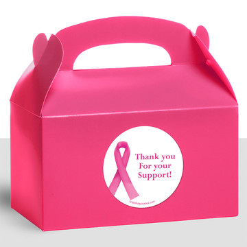 Pink Ribbon Personalized Treat Favor Boxes (12 Count)