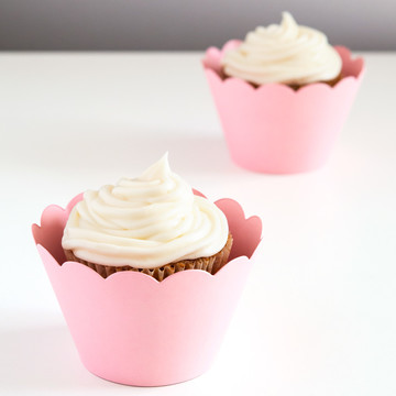 Pink Scalloped Cupcake Wrapper (12)