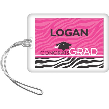Pink Zebra Grad Personalized Bag Tag (Each)