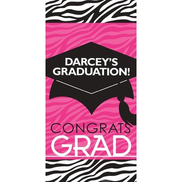 "Pink Zebra Grad Personalized Giant Banner 30x60"" (Each)"