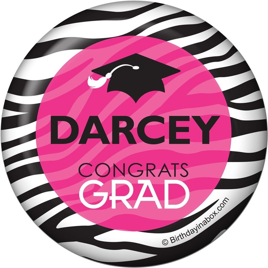 View larger image of Pink Zebra Grad Personalized Magnet (Each)