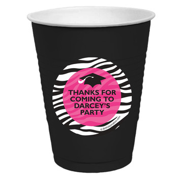 Pink Zebra Grad Personalized Party Cups, 50ct