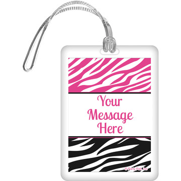 Pink Zebra Stripes Personalized Bag Tag (Each)
