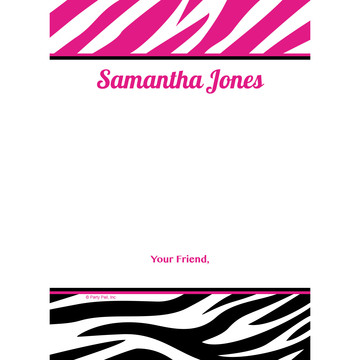 Pink Zebra Stripes Personalized Thank You (Each)
