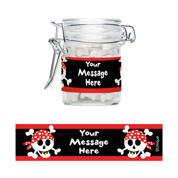 Pirate Birthday Personalized Glass Apothecary Jars (12 Count)