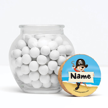 """Pirate Personalized 3"""" Glass Sphere Jars (Set of 12)"""