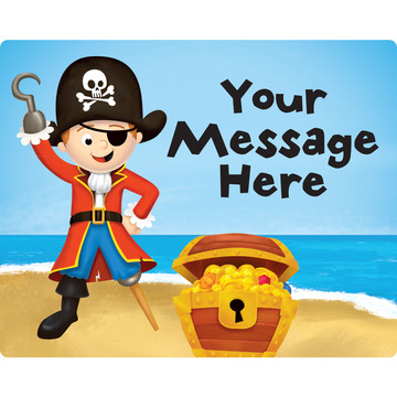 Pirate Personalized Rectangular Stickers (Sheet of 15)