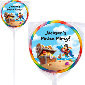 "Pirate Treasure Personalized 3"" Lollipops (12 Pack)"