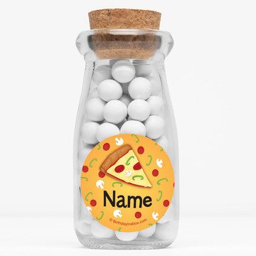 """Pizza Party Personalized 4"""" Glass Milk Jars (Set of 12)"""