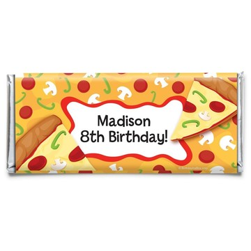 Pizza Party Personalized Candy Bar Wrapper (Each)