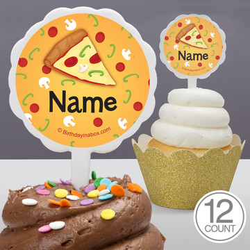 Pizza Party Personalized Cupcake Picks (12 Count)