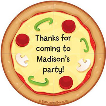 Pizza Party Personalized Stickers (sheet of 12)