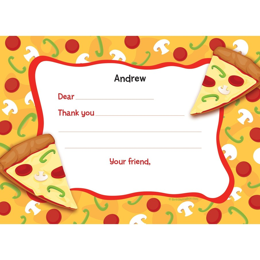 View larger image of Pizza Party Personalized Thank You Note (each)