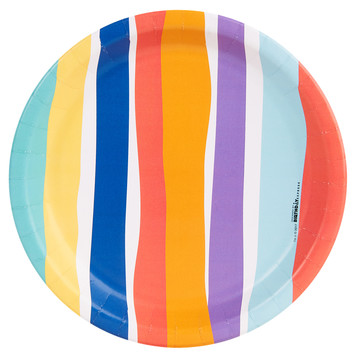 Playful Pom Pom Stripe Dinner Plate (8)
