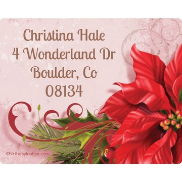 Poinsettia Holiday Personalized Address Labels (Sheet of 15)