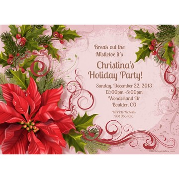 Poinsettia Holiday Personalized Invitation (Each)