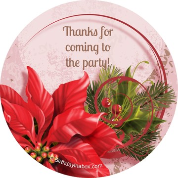 Poinsettia Holiday Personalized Stickers (Sheet of 12)